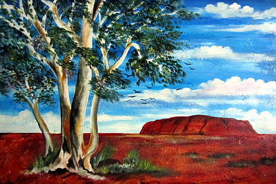 Poster featuring the painting Uluru Ayers Rock by Roberto Gagliardi