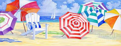 Umbrella Beach Poster by Paul Brent