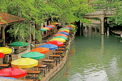 Poster featuring the photograph Umbrellas Along River Walk - San Antonio by Art Block Collections