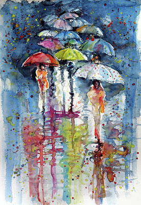 Umbrellas In Rain Poster by Kovacs Anna Brigitta
