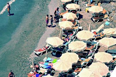 Poster featuring the photograph Umbrellas On The Beach - Nerja by Mary Machare