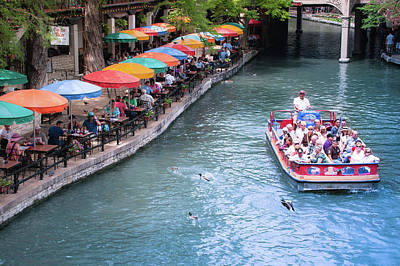 Umbrellas On The San Antonio Riverwalk - Paseo Del Rio - Texas Poster