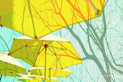 Umbrellas Yellow Poster