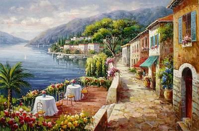 Un Caffe Davanti Al Lago Como Poster by Lucio Campana