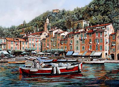 Una Lunga Barca Rossa Poster by Guido Borelli