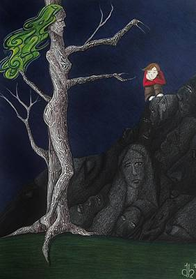 Poster featuring the drawing Unalone by Danielle R T Haney