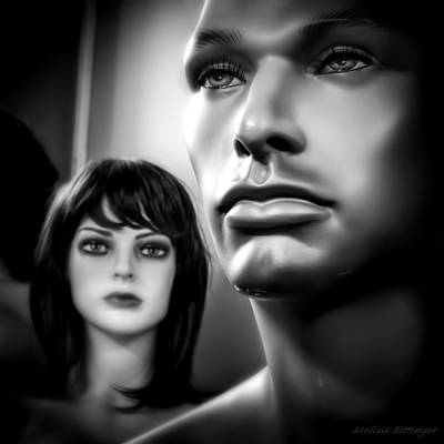 Unattainable Love Mannequins Black And White Poster