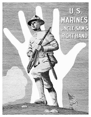 Uncle Sam's Right Hand - Us Marines Poster