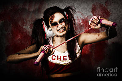 Undead Cheerleader Causing Destruction And Chaos Poster