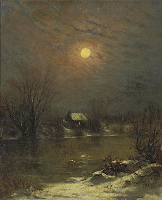 Under A Full Moon Poster by Jervis McEntee