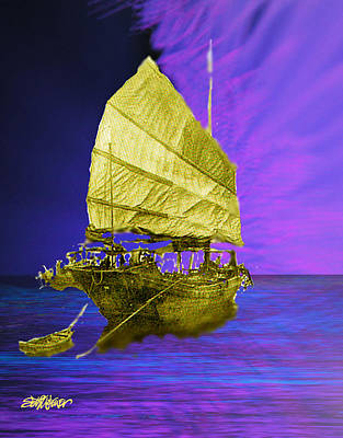 Poster featuring the digital art Under Golden Sails by Seth Weaver