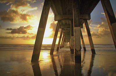 Under Johnny Mercer Pier At Sunrise Poster by Phil Mancuso