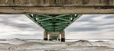 Poster featuring the photograph Under Mackinac Bridge Winter by John McGraw
