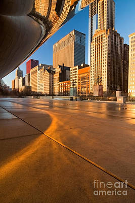 Under The Bean And Chicago Skyline At Sunrise Poster