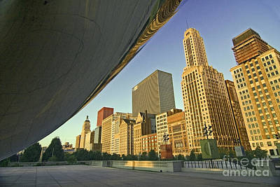 Under The Bean And Chicago Skyline Poster