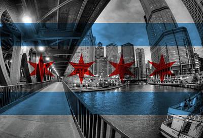 Under The Chicago Flag Bridge Poster by Adam Oles