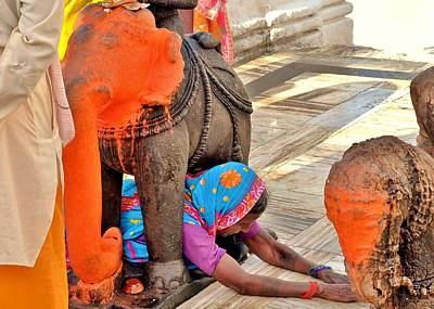 Under The Elephant - Narmada Temple At Arkantak India Poster