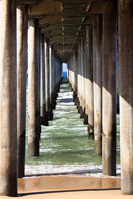 Under The Pier In Orange County California Poster by Paul Velgos