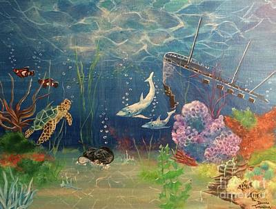 Poster featuring the painting Under The Sea by Denise Tomasura