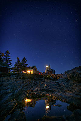 Under The Stars At Pemaquid Point Poster
