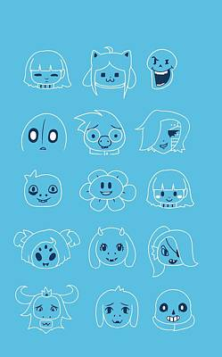 Undertale Heads Poster by Mary Leroy