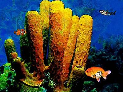 Underwater. Coral Reef. Poster by Elena Kosvincheva