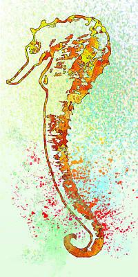 Underwater. Seahorse. Poster by Elena Kosvincheva