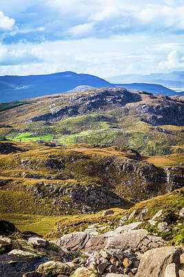Undulating Green, Purple And Yellow Rocky Landscape In  Ireland Poster by Semmick Photo