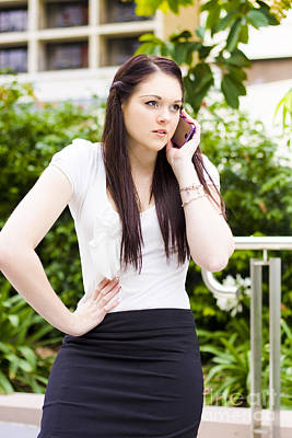 Unhappy Business Woman Talking On Cell Phone Poster by Jorgo Photography - Wall Art Gallery