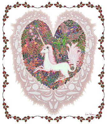 Unicorn In A Pink Heart Poster