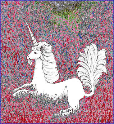 Unicorn In A Red Tapestry Poster by Lise Winne