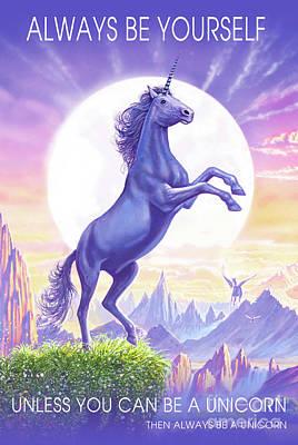 Poster featuring the digital art Unicorn Moon Ravens by Steve Crisp