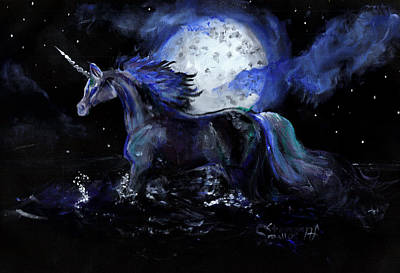 Unicorn With Moon Poster