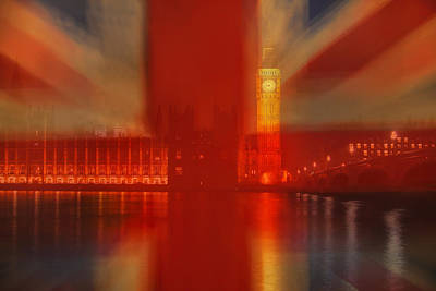 Union Jack Over London Poster by Andrew Soundarajan