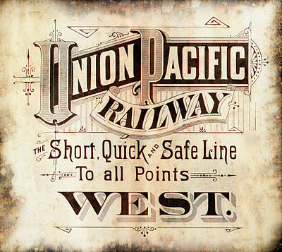 Union Pacific Railroad - Gateway To The West  1883 Poster