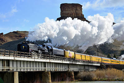 Union Pacific Steam Engine 844 And Castle Rock Poster by Eric Nielsen