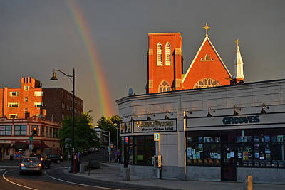 Union Square Somerville Rainbow Poster by Toby McGuire