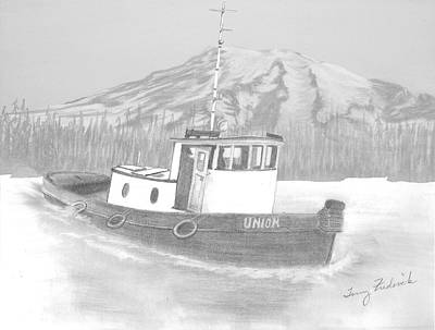 Poster featuring the drawing Tugboat Union by Terry Frederick