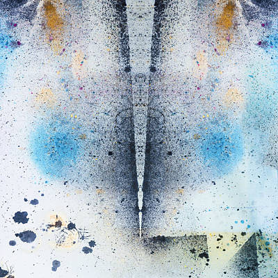 Unique Abstract Ink Design In Blue And Golden Spray Poster by Peter V Quenter