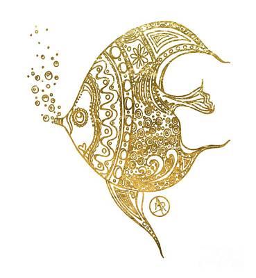 Unique Golden Tropical Fish Art Drawing By Megan Duncanson Poster by Megan Duncanson
