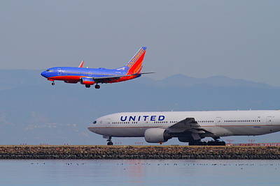 United Airlines And Southwest Airlines Jet Airplane At San Francisco International Airport Sfo.12087 Poster by Wingsdomain Art and Photography