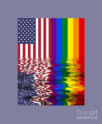 United States And Rainbow Flags Reflected Poster by Frederick Holiday