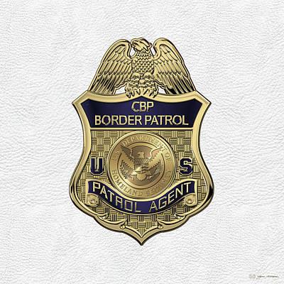 United States Border Patrol -  U S B P  Patrol Agent Badge Over White Leather Poster
