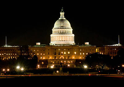 United States Capitol Grounds At Night Poster