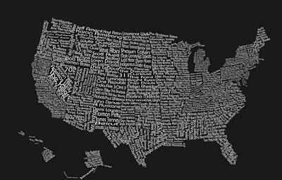 United States Music Map-grey And White Poster