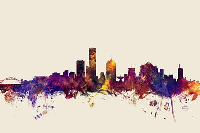 united states, usa, city skyline, watercolour, watercolor, urban,  silhouette, cityscape, Minneapoli Poster