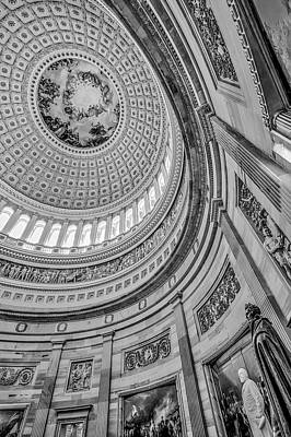 Poster featuring the photograph Unites States Capitol Rotunda Bw by Susan Candelario