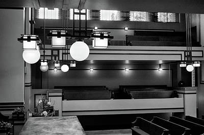 Unity Temple Interior Black And White Poster
