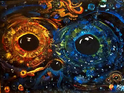 Poster featuring the painting Universe Watching by Michelle Audas