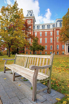 University Of Arkansas Campus In Fall - Old Main Building Poster